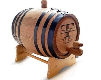 Whiskey Barrel - Oak Bourbon Barrel - Oak Whiskey Barrel - Groomsmen Whiskey Barrel - Custom Whiskey Barrel - Personalized Whiskey Barrel