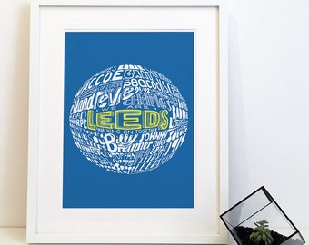 Leeds United Football Club Typography Print Poster