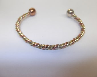 Tow Tone Twisted Copper Bangle