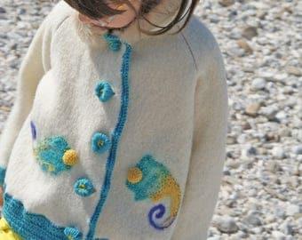 Ivory wool felted chameleon coat jacket girls wool jacket felt spring coat wool felted coat felt clothing animal clothing designed