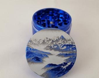 Snowy Mountain Range   2 Inch (50mm) Metal Herb Grinder