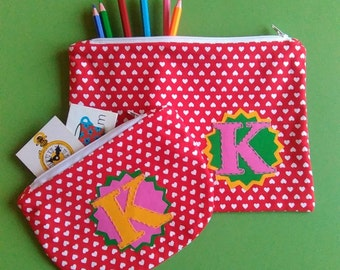 Hearts. Perfectly Practical, Personalised or Plain,  Pencil case and/or Purse. Made to Order.