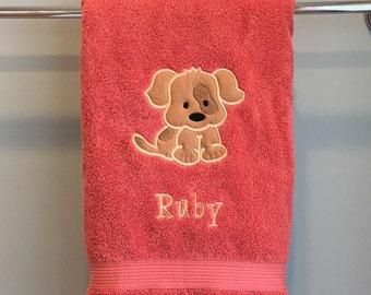 Personalized Puppy Bath Towel