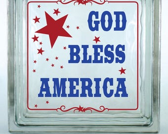 God Bless America Decorative Glass Block Decal / Vinyl Decal