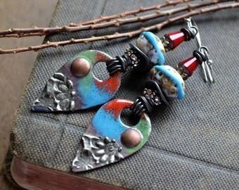 Colorful Boho Earrings, Artisan Lampwork Copper Enamel Earrings, Blue Red, Rustic Bohemian Earrings, Festive Hippie Earrings, Modern Gypsy