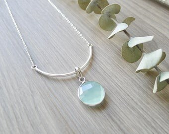 Sterling Silver Aqua Chalcedony Necklace, Simple Stone, Large Stone, Teal Stone, Fancy Cut, Teal Gem Necklace