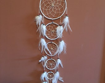 "6"" Dream Catcher,White,Large ,Reiki Charged, Legend, Native, Hand Wrapped,Dreamcatcher, Energy Healing, Protection"