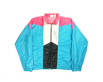Avia Jacket Avia Wind Breaker Avia Neon Rain Coat Avia Pink And Teal Windbreaker Bomber Jacket