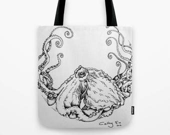 Octopus tote bag follow link https://society6.com/product/octopus-love398447_bag?#s6-6884935p29a26v196