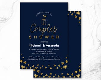 Couples Shower Invitation, Printable Couple Wedding Shower Invitation, Couples Shower Invite _ CPS17_09 Navy & Gold