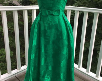 Emerald green 1960's evening gown -small