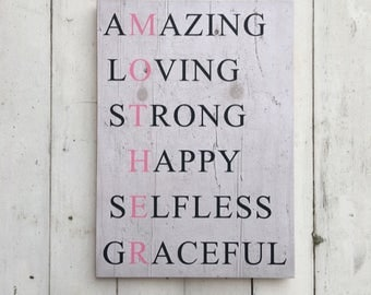 Mother Acrostic   Mother Acrostic Sign   First Mothers Day   Amazing Loving Strong Happy   Pallet Sign   Mother's Day Gift   Mother Gift
