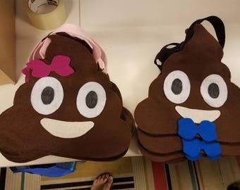 Poop emoji candy party favor bags.
