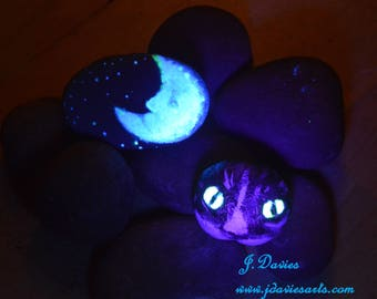 Glow in the dark moon and cat rocks