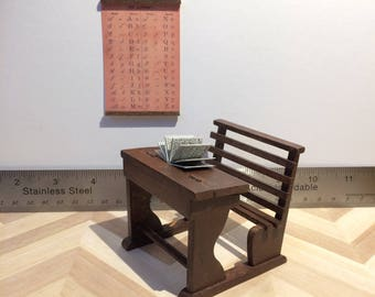 Miniature School Desk with Alphabet Chart