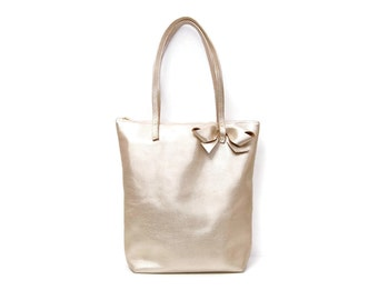 Gold tote bag // Simple metallic leather market tote bag // slouchy tote // minimal metallic tote bag in your choice of gold silver or pink