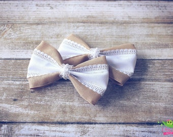 """Burlap White Hair Bows, Vintage Inspired, Baby Girls Hair Bows, Toddler Hair Bows, Hair Clips, 4"""" Hair Bows, Spring Summer Hair Bows, Gifts"""