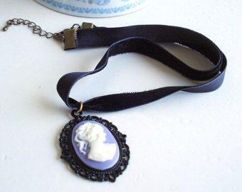 Elegant Gothic Style Choker, Lady Cameo Pendant, Black Velvet Ribbon, Romantic Jewelry