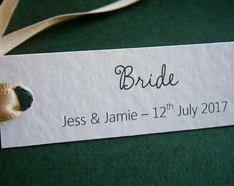 50 Personalised Wedding Place Card Name Tags - White, Ivory