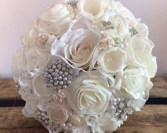 Bridal Bouquet with Ivory and champagne