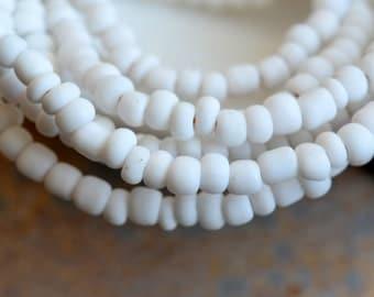 "Pure White Indonesian Lamp Work Glass Seed Beads, Small Tube Spacer Beads, White Beads, Handmade Beads, Ethnic Beads, 44"" Strand, BB17-0127E"