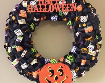 Handmade Halloween Ribbon Wreath
