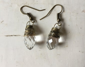 Wire Wrapped Crystal Earrings