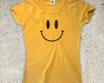 Smiley T-Shirt - Yellow - Womens XS S M L XL