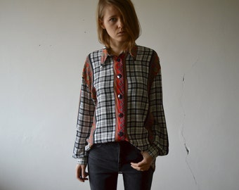 vintage  black and white check and red eastern print shirt button down long sleeve blouse with classic collar