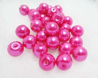 20 Fuchsia Glass Pearls Dark Pink 8mm Loose Beads Lipstick Pink Spacer Bead Beautiful 3927