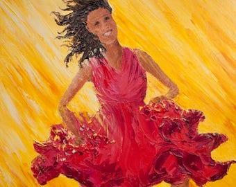"""Original Painting Woman Dancing """"Happy No. 7"""",  24"""" x 18"""" (61cm x 46cm) Palette Knife Oil on Canvas"""