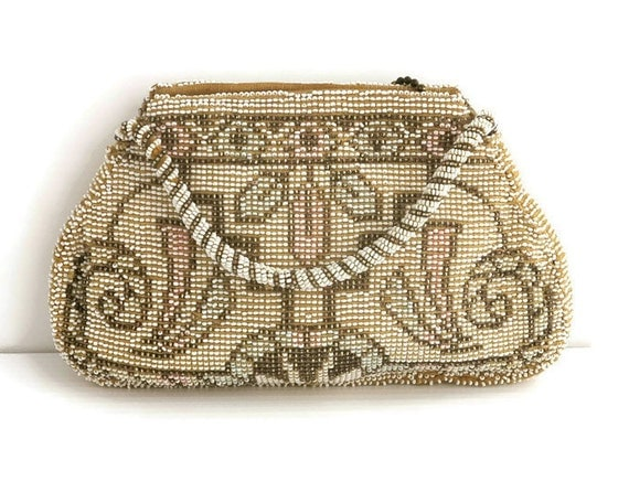 Vintage Art Deco hand beaded purse with geometric pattern in micro seed beads, bronze, white, pink, turquoise, zipped top, circa 1930s