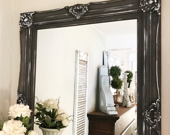 Black Framed Mirror, Ornate Shabby Chic Mirror,  Distressed Mirror, Antique Mirror, Home Wall Decor, Vanity Mirror, Hand Painted