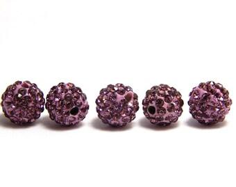 5 LIght Purple Pave Beads, 10mm Purple Pave Beads, Lilac Purple Beads, 10mm Purple Beads, Purple Shamballa Beads, Disco Ball Bead, T-102B