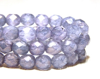 6mm Stone Purple Firepolish Czech Beads, Purple Beads, Light Purple Beads, Purple Faceted Beads, Crystal Beads, 6mm Faceted Beads, T-050C