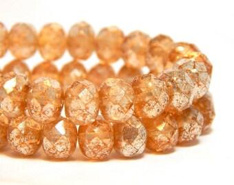 8x6mm Peach Mercury Czech Beads, Peach Beads, Peach Rondelles, Czech Rondelles, Light Orange Beads, Peach Donut Beads, T-81G