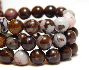 8mm Brown Zebra Jasper, Full Strand, 8mm Zebra Jasper, Brown Zebra Jasper, Round Gemstones, 8mm Gemstones, Earthy Beads, Brown Beads, B-31E