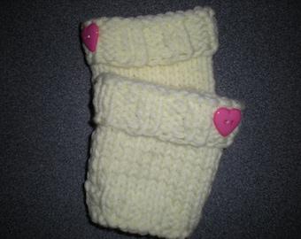 Girl's Knit Boot Cuffs,  Handknit Yellow Bootcuffs, Girl's Boot Toppers,