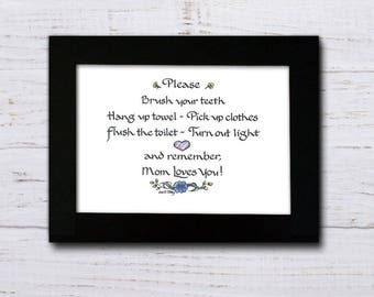 Wash your hands...remember Mom loves you, print of original art and calligraphy
