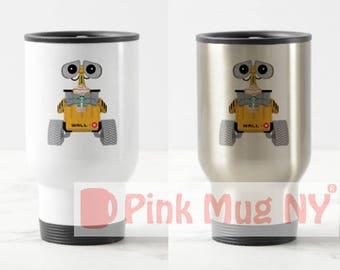 Personalized 15oz Stainless Steel Travel Mug / designed PinkMugNY- I love Starbucks - WALL-E