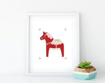 Valentine Dala Horse Art Print, Instant Digital Download