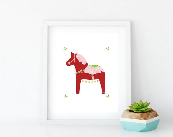 Valentine Dala Horse Art Print, Instant Digital Download