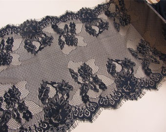 Chantilly Eyelash Lace Trim, Chantilly Lace Fabric, 6.5 inches Wide for Veil, Dress, Costume, Craft Making, 3 Meter/piece