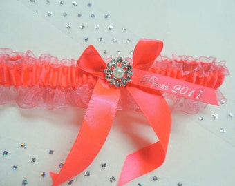 Prom garter, Prom garters, Neon Coral prom garter, Bridal,  Wedding garter, Garters, Garter, Neon Coral garter