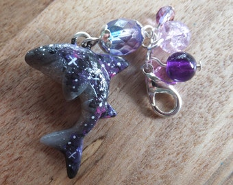 SALE! Purple & Pink Galaxy Shark Charm Lobster Clasp made from polymer clay - acrylic paint - stars - random - black - planet - beads.