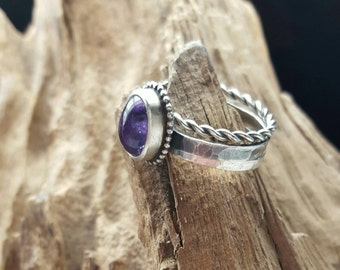 ring set,stacking ring,silver ring,minimalistic ring,wire ring,cute ring,purple gemstone,Amethyst,combination rings,boho ring,bohemian,cute