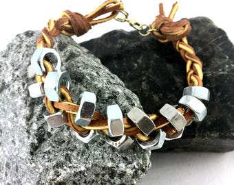 Zinc Hex Nut Braided on Oak Leather Bracelet