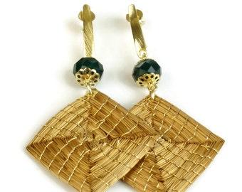 Square Earrings, Diamond Shaped Golden Grass Earrings, Handwoven Earrings, Organic Earrings, Agate stone, Geometric Earrings