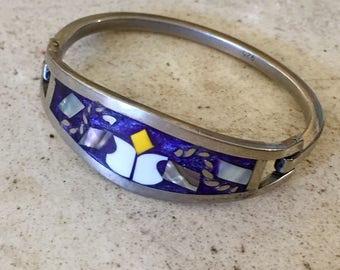 Sweet Vintage Sterling Silver with Abalond Inlay Child's Bracelet. Tiny Bracelet.
