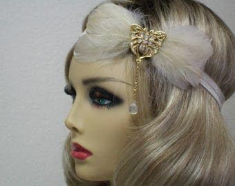 Champagne 1920s Headband, Flapper Headband, Great Gatsby Headband, 1920s Headpiece, 1920s Hair Accessory, Vintage inspired